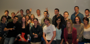 """BBC Radio broadcaster Johnnie Walker poses with SU London students on the """"Musical Mapping"""" course"""